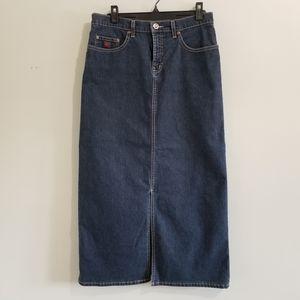 Point Zero blue pencil denim jean midi skirt